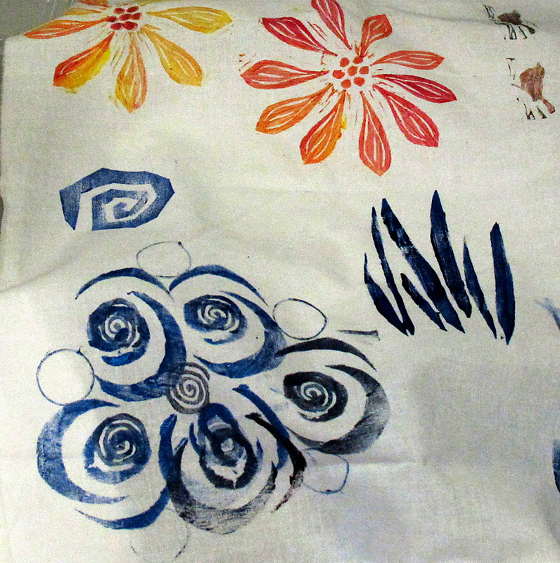 Class sample of stamped fabric
