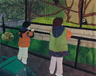 Picture of two children watching the mokeys at the zoo.