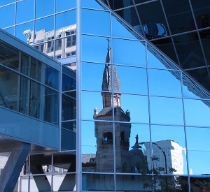 reflections, cathedral, church, modern buildings