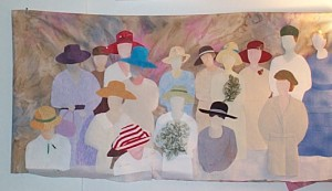 A process photo of The Ladies art quilt.