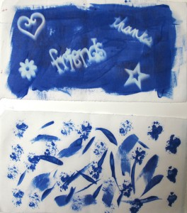 Stamp and brush marks with Inkodye.