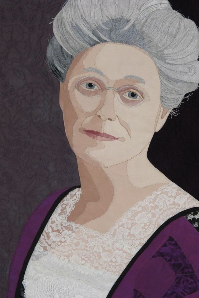 Detail shot of a ladies portrait in fabric.