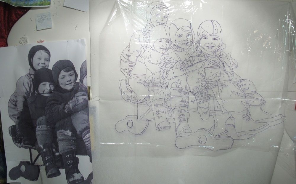 Enlarged photo and line drawing of 4 chidlren on bob sled