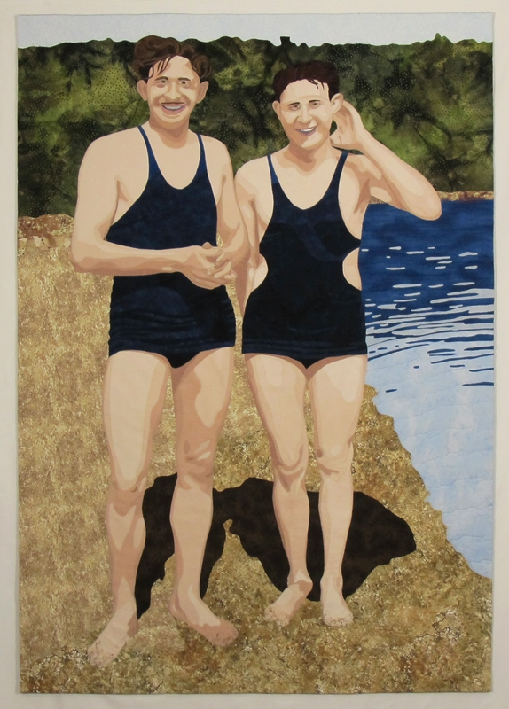 Two men in vintage bathing costumes, standing on the beach. Commercial and hand-dyed cotton, paint. Valerie Wilson 2015