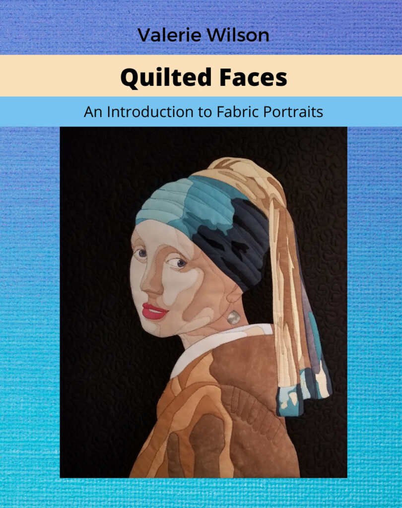 Picture of a book cover with a quilted portrait